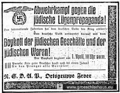 Anzeige im Jeverschen Wochenblatt vom 31. März 1933