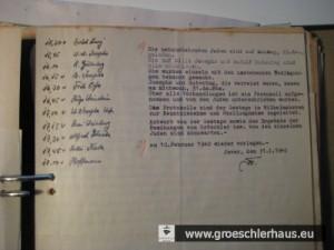 Protokoll mit den abgehakten Terminen der auf das Rathaus am 29. Jan. 1940 geladenen Juden, abgezeichnet von Bürgermeister Folkerts.
