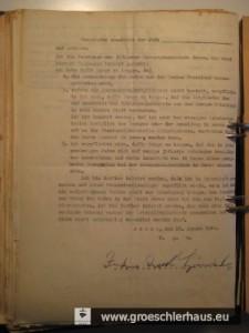 Die von Julius Gröschler am 26. Jan. 1940 von den Behörden erzwungene Erklärung.