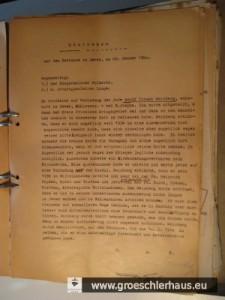 Protokoll der Befehle und Drohungen, die Adolf Weinberg am 29. Jan. 1940 erhielt und unterschreiben musste. Weinberg wurde 1943 zusammen mit seiner Frau Resi und seinem 10jährigen Sohn Wolf in Auschwitz ermordet.