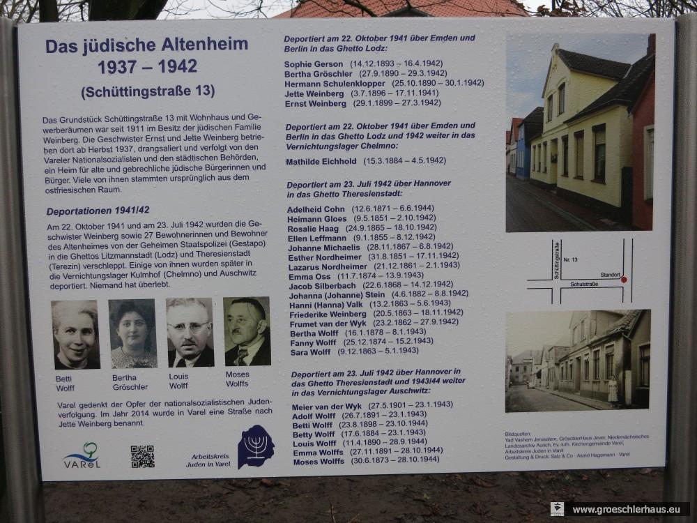 Die am Holocaust-Gedenktag 2016 eingeweihte Gedenktafel für die ermordeten Bewohner des Jüdischen Altenheims von Varel (Foto H. Peters)