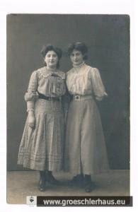Bertha Gröschler (1890 Jever – 1942 Ghetto Lodz), rechts ihre Schwester Erna, die von Hannover aus in die USA auswanderte, Foto von ca. 1914