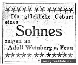 Geburtsanzeige für Wolf Weinberg (1933 Jever – 1943 Auschwitz), Jeversches Wochenblatt v. 26. Jan. 1933