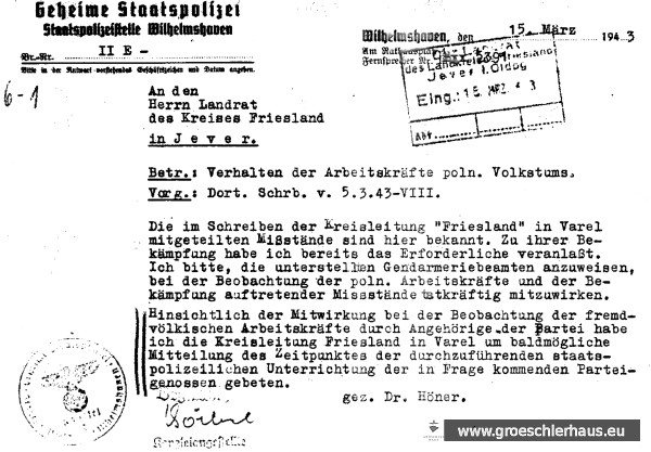 1943-03-15 Gestapo an Landrat