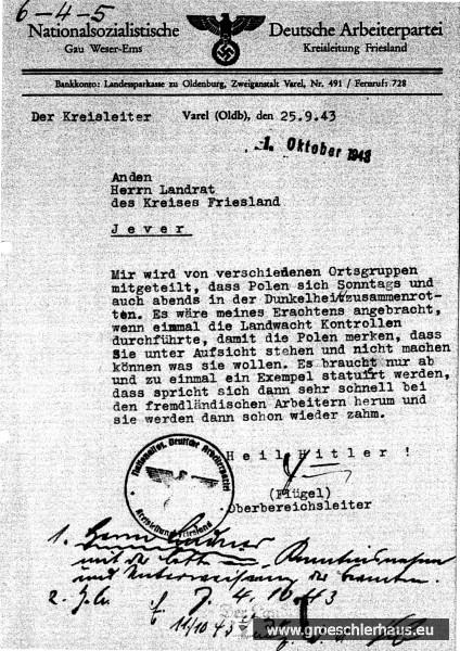 Bei der Überwachung und Verfolgung der polnischen Zwangsarbeiter in Friesland wirkten Landratsamt, NSDAP-Kreisleitung, örtliche Polizei und Gestapo in Wilhelmshaven eng zusammen, wie diese Korrespondenzen aus dem Jahr 1943 dokumentieren (Landesarchiv Oldenburg, Repros Sammlung H. Frerichs).