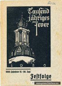 """Das Programmheft zur Festwoche """"1000jähriges Jever"""" zeigt auf dem Titelblatt den jeverschen Schlossturm als Wahrzeichen der Stadt (Schnitt; D. Lange, Archiv Schlossbibibliothek)"""
