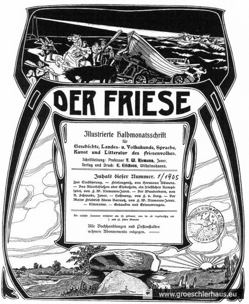 """Die Motive des Titelblatts von """"Der Friese"""" (Heft 1, 1905) beziehen sich auf die Gemeinsinn erzeugenden Naturgewalten der Küste und die identitätsstiftenden Legenden der Vorzeit (Schloss-Bibliothek Jever)"""