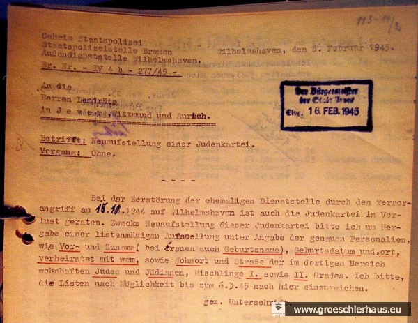 """Im Februar 1945 stellte die Gestapo durch Schreiben an die Landräte, die ihrerseits an die Bürgermeister weiterleiteten, welche postwendend reagierten, ihre durch den Bombenschaden verlorene """"Judenkartei"""" wieder her. (LAOL, Dep 25 Jev Akz 39/1997 Nr. 311)"""