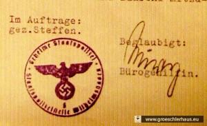 Stempel der Gestapo Wilhelmshaven auf dem Schreiben vom 20.2.1940 an den Bürgermeister von Jever, Martin Folkerts (Archiv H. Peters)