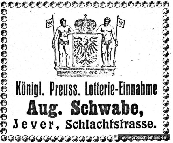 Anzeige von August Schwabe als Lotterieeinnehmer (Adressbuch Jevers von 1908/09, Archiv H. Peters Wilhelmshaven)
