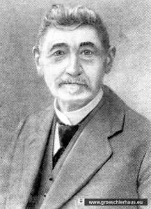 Der jüdische Uhrmacher, Lotterieeinnehmer und Heimatdichter August Schwabe (1847 – 1932) (Foto von ca. 1927, Archiv H. Peters Wilhelmshaven)