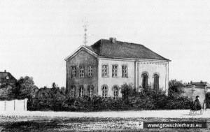 Die 1848 im klassizistischen Stil erbaute Synagoge von Varel. Synagoge, Schule und Lehrerwohnung befinden sich unter einem Dach. (Zeichnung von 1860)