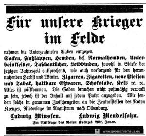 """Das Rote Kreuz bittet außer um """"Liebesgaben"""" auch um Kleidung und pflegerisch notwendiges Material für das in Schloss und Sophienstift eingerichtete Lazarett. (JW Nr. 200 / 1914)"""