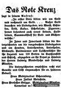 """Mehrfach schaltet das Rote Kreuz Anzeigen, mit denen um Spenden von """"Liebesgaben"""" gebeten wird. Die Auflistung verdeutlicht, was besonders begehrt ist. (JW Nr. 210 / 1914)"""