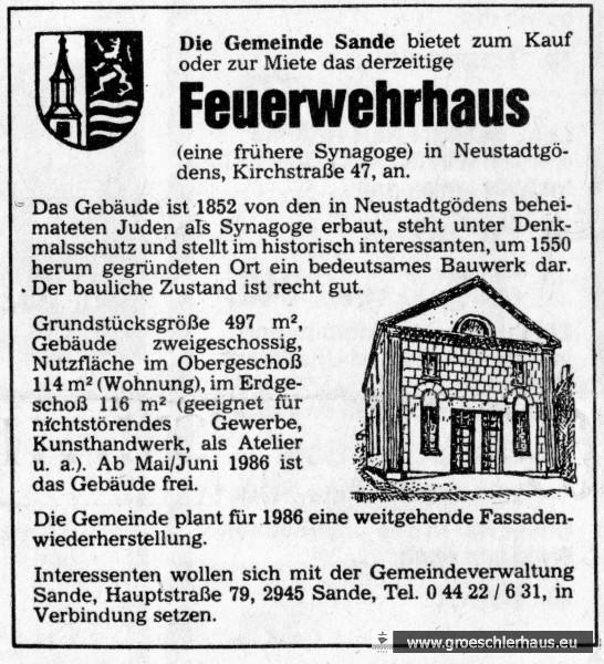 """""""Die Gemeinde Sande bietet zum Kauf oder zur Miete das derzeitige Feurwehrhaus (eine frühere) Synagoge … an"""". (Jeversches Wochenblatt, März 1986)"""