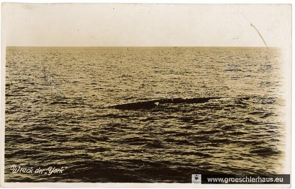 Das Wrack der 'Yorck' auf der Postkarte eines Wilhelmshavener Verlags, ca. 1930 (Deutsches Marinemuseum, Wilhelmshaven)