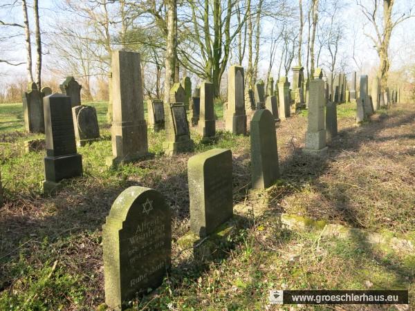 Der jüdische Friedhof Neustadtgödens wurde in der NS-Zeit stark geschändet. Vorne ist der Grabstein für Alfred Weinberg (1896 – 1974) zu sehen. Die letzte Beerdigung, Robert de Taube, fand 1982 statt. (Foto H. Peters, 2015)