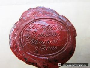 Das Siegel der Israelitischen Gemeinde Neustadtgödens auf einer Geburtsbestätigung von 1896 (Schlossmuseum Jever, Sammlung Rolf Sternberg, Foto H. Peters)