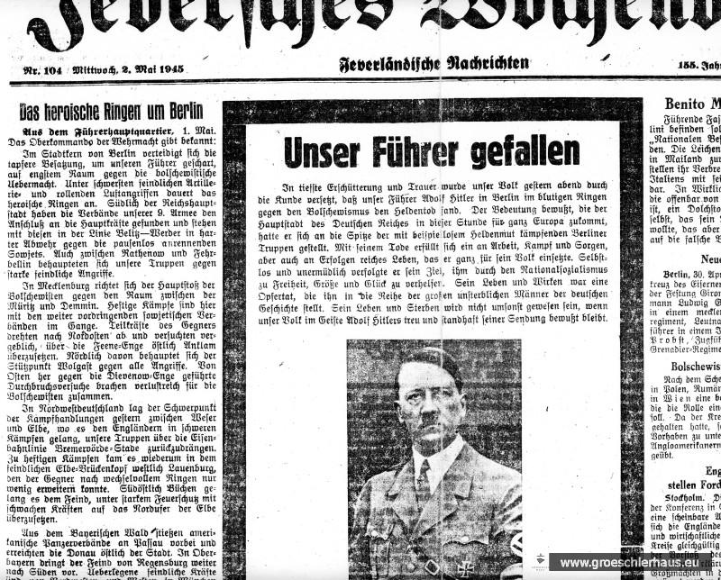 """""""Unser Führer gefallen"""", Jeversches Wochenblatt, 2.5.1945"""