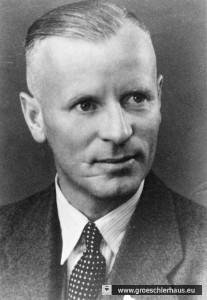 Landrat Hermann Ott wollte am 3. Mai 1945 den Protest besänftigen; vor seiner Internierung als NS-Funktionär hatte er noch zwei Wochen der Militärregierung zu dienen (Foto von 1947, Archiv H. Peters)