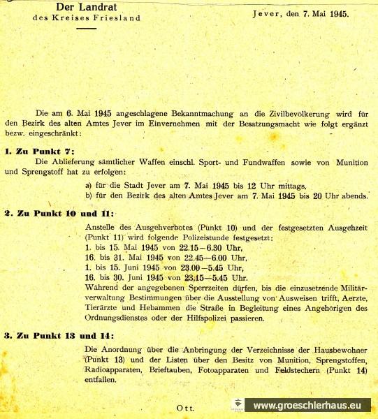 Aushang des Landrats vom 7. Mai 1945 im Befehl der Militärregierung (Schloss-Archiv Jever)