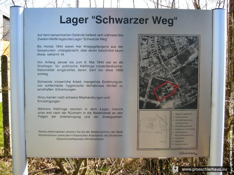Die Gedenktafel am ehemaligen Lager Schwarzer Weg erwähnt die sowjetischen Kriegsgefangenen. Eine ausführliche Würdigung wäre angebracht. (Foto Uwe Karwath, 2008)
