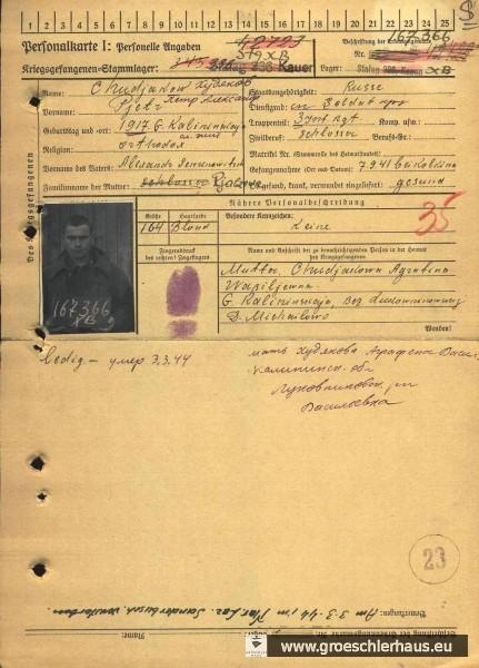 Ausschnitt aus der Personalkarte I des sowjetischen Kriegsgefangenen Pjotr Chudjakow, gestorben am 3. März 1944 im Marine-Lazarett Sanderbusch, zunächst aber in Fedderwarden bestattet und nach dem Krieg auf den Ausländerteil Friedhof Sande umgebettet (www.obd-memorial.ru).