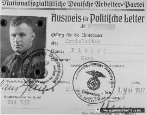 Ausweis des NSDAP-Kreisleiters Hans Flügel (1894 - 1991) von 1937 (Archiv H. Peters)