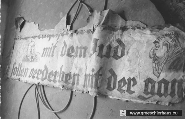 Antisemitisches Transparent. Es wurde 1985 bei Renovierungsarbeiten in einer Wohnung in der jeverschen Schlachtstraße gefunden. (Archiv H. Peters)