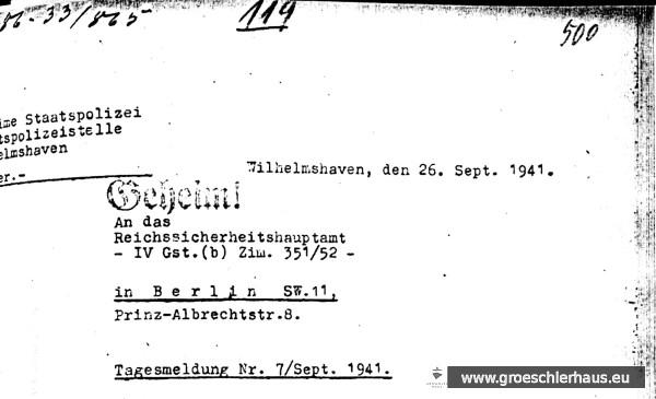 """Montierte Ausschnitte aus der """"Tagesmeldung"""" der Gestapo Wilhelmshaven vom September 1941 (Quelle: NLA Oldenburg)."""