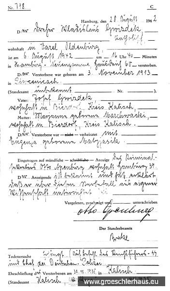 """Sterbefallurkunde des """"Sonder-Standesamtes"""" in Neuengamme über die Hinrichtung von Gwizdek (Quelle: Gedenkstätte Neuengamme)."""