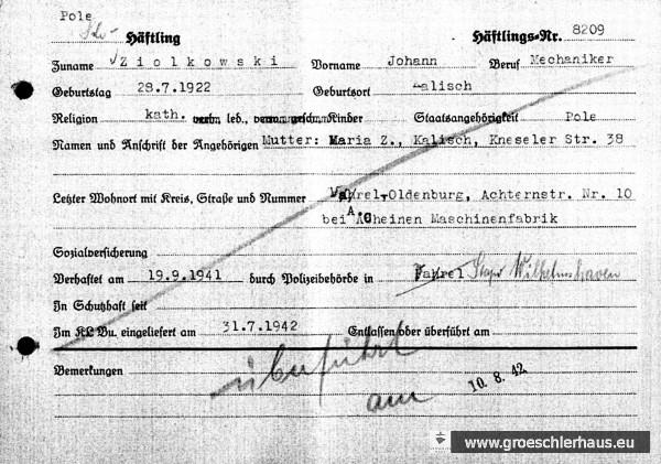 Karteikarten zu Johann Ziolkowski aus der Registratur des KL Buchenwald (Quelle: ITS Arolsen).