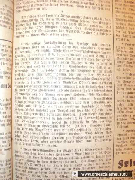 """Notiz in """"Der Gemeinnützige"""", 7.10.1941 (Sammlung des Verfassers)."""