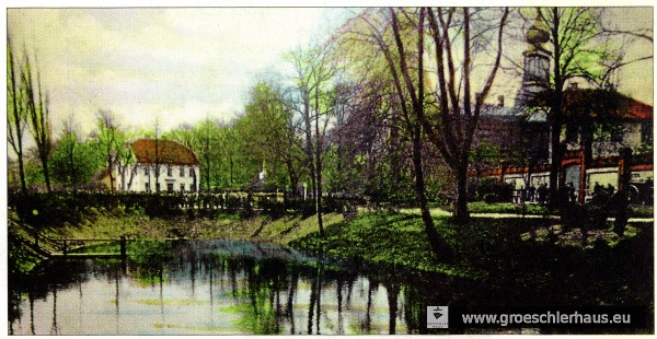Die Blankgraft direkt beim jeverschen Viehmarkt auf einer kolorierten Postkarte von ca. 1910. Hier verunglückten Bruder Erwin und Vater Julius Levy im Jahre 1919. Archiv H. Peters