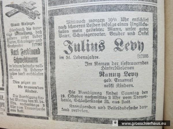 """Todesanzeige für Julius Levy im """"Jeverschen Wochenblatt"""" vom 17. Okt. 1919. Schloss-Archiv Jever"""
