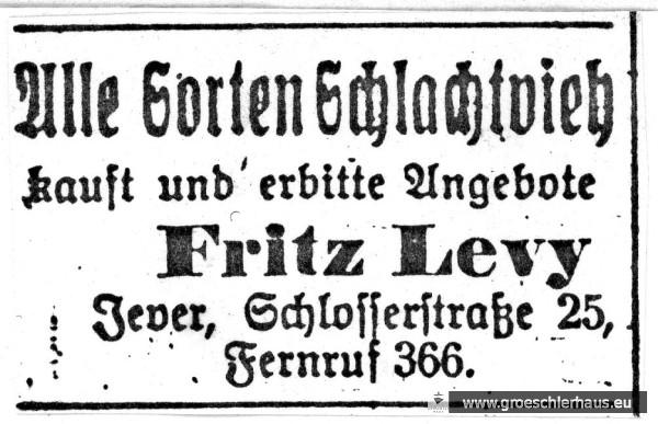 """Diese Anzeige ließ Fritz Levy häufig vor 1933 im """"Jeverschen Wochenblatt"""" platzieren, 29. Okt. 1931. Schloss-Archiv Jever"""