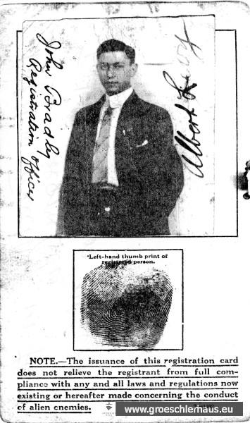 Im Nachlass von Levy fand sich der Registrierungsausweis des Bruders Albert beim Eintritt in die USA von ca. 1923. Albert beging 1931 Selbstmord. Archiv H. Peters