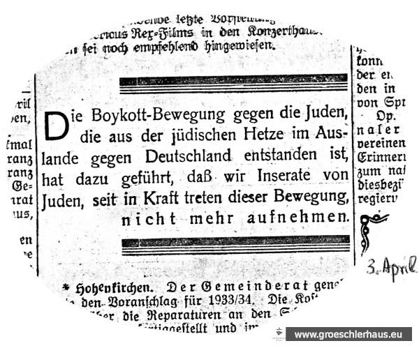 """Mit diesem Insert vom 3. April 1933 beendete das """"Jeversche Wochenblatt"""" den Abdruck der Geschäftsanzeigen jüdischer Kaufleute. Schloss-Archiv Jever"""