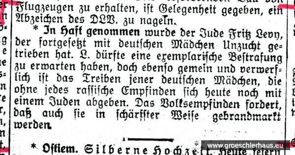 """Mit schärfsten Worten kommentierte das """"Jeversche Wochenblatt"""" am 5. Juni 1934 die angebliche """"Rassenschande"""" von Fritz Levy und das """"Treiben jener deutschen Mädchen, die ohne jedes rassische Empfinden sich heute noch mit einem Juden abgeben."""" Den Artikel beschließt eine kriminelle Aufforderung zur Selbstjustiz. Schloss-Archiv Jever"""