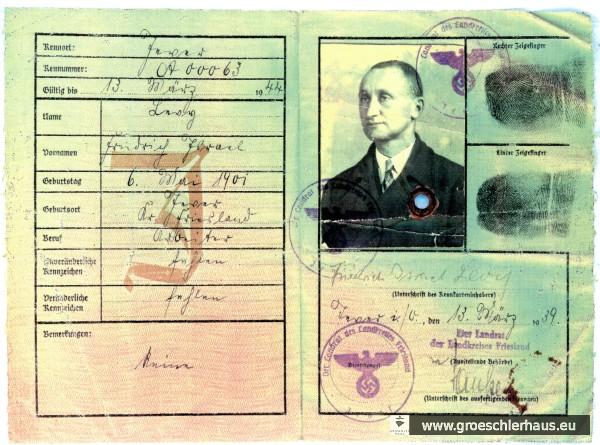 """Kennkarte mit dem """"J"""" für Jude von Fritz Levy vom 13. März 1939. Archiv H. Peters"""