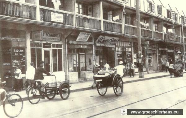 Die East Seward Road in Shanghai, an der Fritz Levy wohnte, in einer Aufnahme, die vor der Einrichtung des Ghettos durch die Japaner entstand. Das Emigrantenviertel Hongkou wurde 2008 abgerissen.