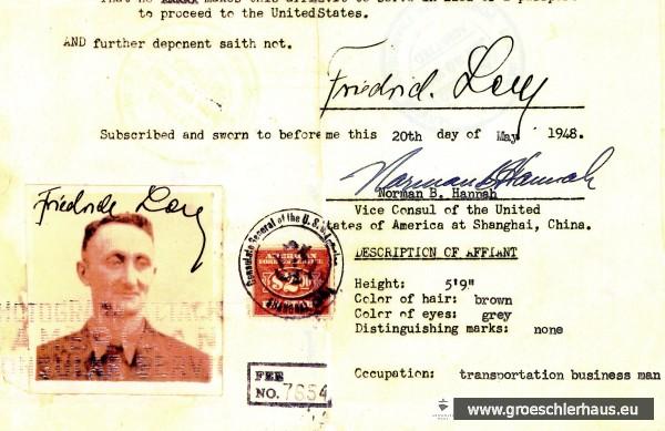 Affidavit (Einreiseerlaubnis) für Fritz Levy für die USA, ausgestellt am 20. Mai 1948 in Shanghai. Archiv H. Peters