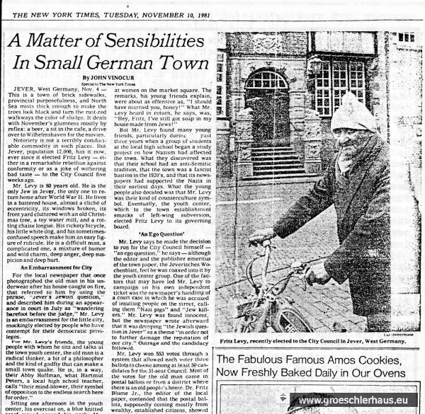 """Am 10. November 1981 berichtete die New York Times über Fritz Levy und Jever. Der Deutschlandkorrespondent und spätere Chef der International Herald Tribune , John Vinocur, reiste von Bonn aus an. Der Artikel wurde von vielen amerikanischen Zeitungen nachgedruckt. Von den deutschen Premium-Medien berichteten u.a. """"Der Spiegel"""", """"Der Stern"""" und """"Die Zeit"""". Archiv H. Peters"""