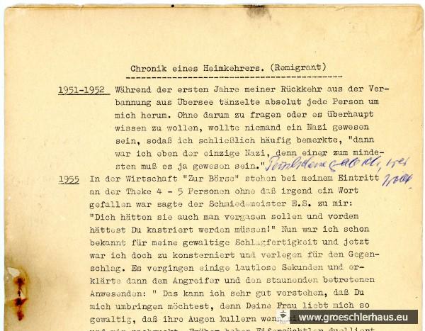 """Die erste Seite der hektographierten """"Chronik"""" mit handschriftlicher Ergänzung von Fritz Levy: """"Persilscheine gab ich, wer wollte."""" Foto H. Peters"""