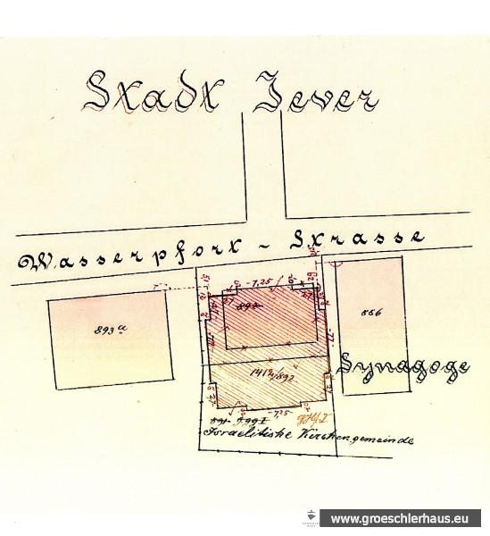 Der Grundriss der Synagoge von 1880 überlappt den Grundriss der Synagoge von 1802. Gut ist die Zurücksetzung beider Gebäude von der Straßenfront der Gr. Wasserpfortstraße zu erkennen. (Fortführungsblatt 188, Katasteramt Varel)