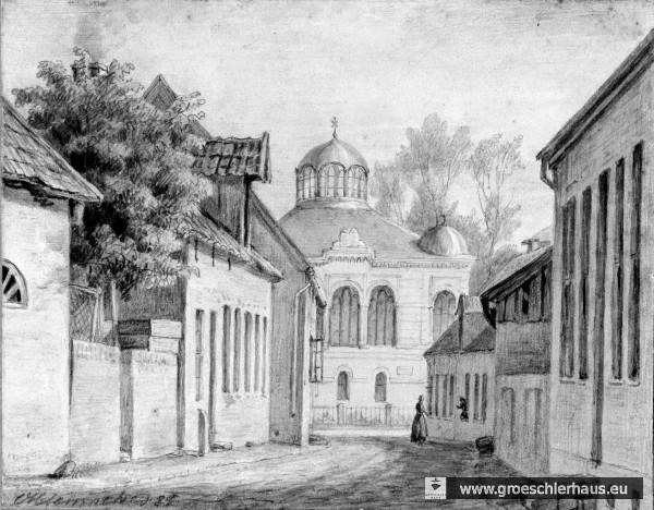 Bleistiftzeichung der Synagoge von 1881 aus der Sicht der Kl. Wasserpfortstraße Hier ist noch eine der vermutlich vier Eckkuppeln zu sehen. (Schlossarchiv Jever)