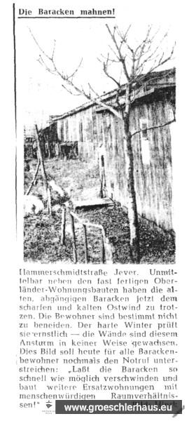 Bericht über die abgängigen Baracken an der Hammerschmidtstraße, Jever. Nordwest-Zeitung, 2.11.1956. Sammlung H. Zimmermann