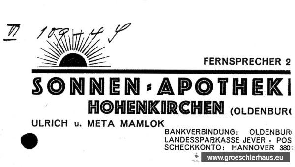 Briefkopf der Sonnen-Apotheke (Auschnitt) um 1936. Archiv H. Peters