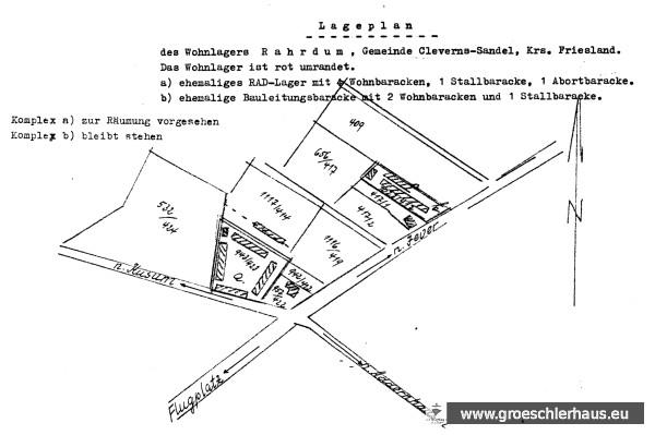 Planzeichnung der durch Neubauten zu ersetzenden ehemaligen Baracken des Reichsarbeitsdienstes in Jever-Rahrdum, ca. 1956. Sammlung H. Zimmermann