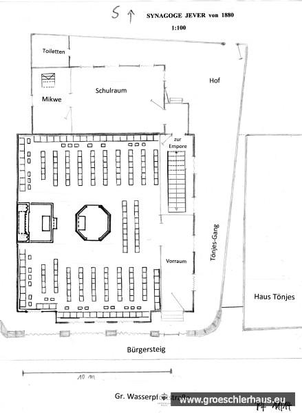 Provisorische Grundrisszeichnung der Synagoge von 1880 Der Mittelrisalit ist nur an der Straßenseite eingezeichnet, die Sitzordnung beruht auf einer Annahme (H. Peters, 2014)